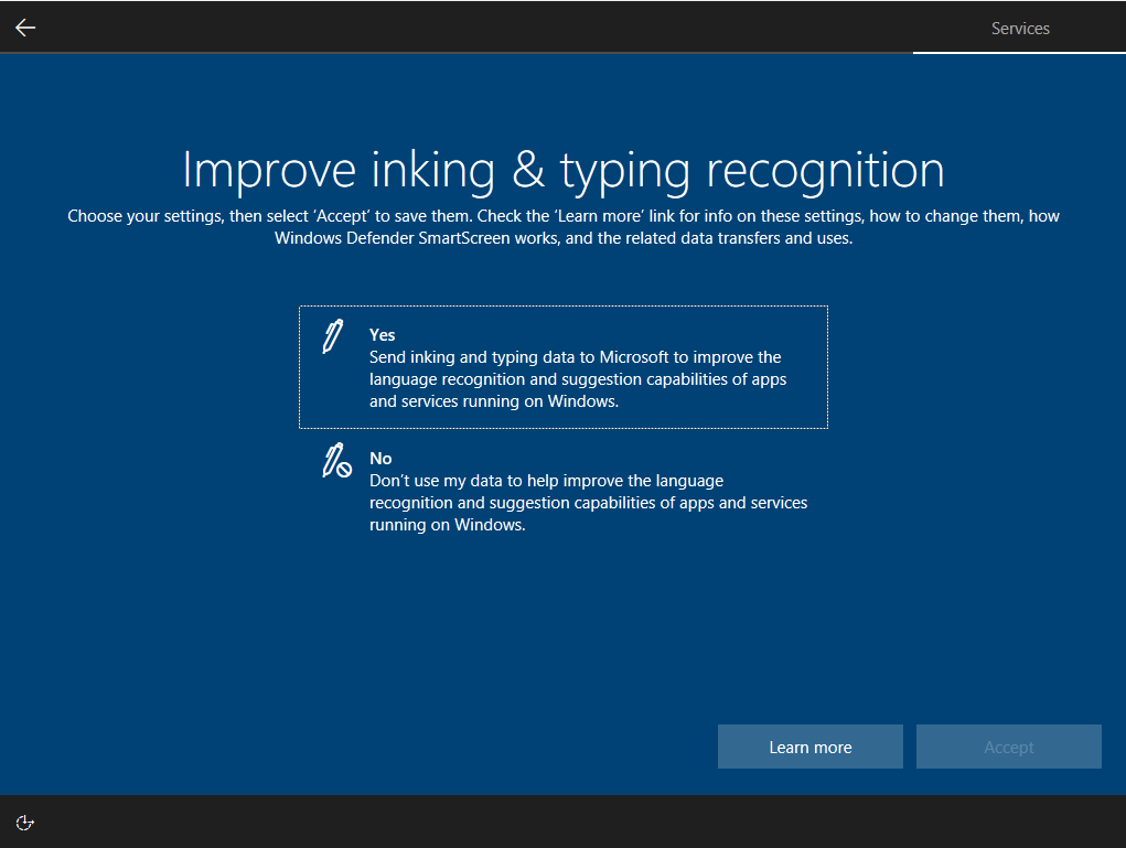 improve inking and typing setting