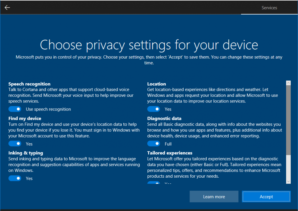 new privacy settings in Windows 10 single screen